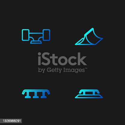 istock Set line Skateboard stairs with rail, , wheel and park. Gradient color icons. Vector 1326988291