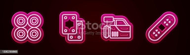istock Set line Skateboard wheel, Knee pads, Cinema camera and . Glowing neon icon. Vector 1330265865