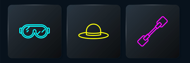 Set line Ski goggles, Paddle and Elegant women hat. Black square button. Vector