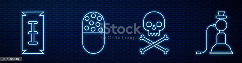 Set line Skull on crossbones, Blade razor, Medicine pill or tablet and Hookah. Glowing neon icon on brick wall. Vector