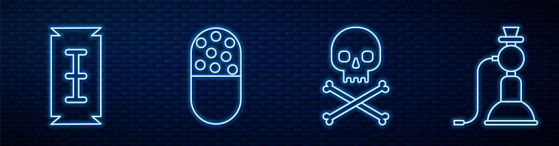Set line Skull on crossbones, Blade razor, Medicine pill or tablet and Hookah. Glowing neon icon on brick wall. Vector