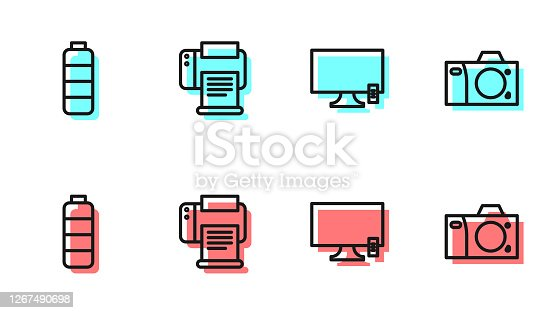 istock Set line Smart Tv, Battery charge level indicator, Printer and Photo camera icon. Vector 1267490698
