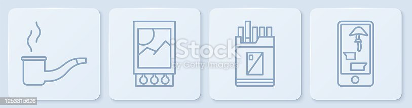 istock Set line Smoking pipe, Open cigarettes pack box, Open matchbox and matches and Buying drugs online on phone. White square button. Vector 1253315626
