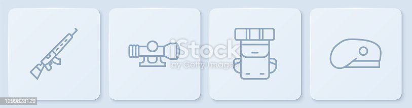 istock Set line Sniper rifle with scope, Hiking backpack, optical sight and Military beret. White square button. Vector 1299823129