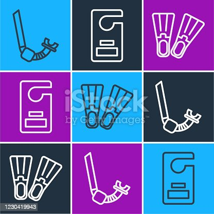 istock Set line Snorkel, Rubber flippers and Please do not disturb icon. Vector 1230419943
