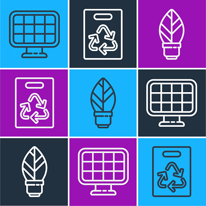 Set line Solar energy panel, Light bulb with leaf and Paper bag with recycle icon. Vector