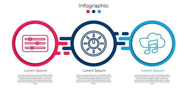 Set line Sound mixer controller, Dial knob level technology settings and Music streaming service. Business infographic template. Vector