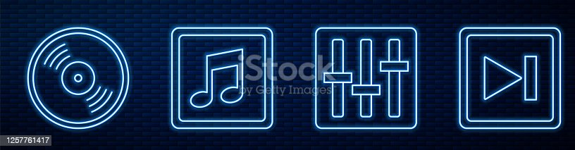 istock Set line Sound mixer controller, Vinyl disk, Music note, tone, Fast forward and Dial knob level technology settings. Glowing neon icon on brick wall. Vector 1257761417