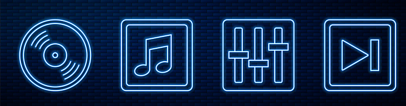 Set line Sound mixer controller, Vinyl disk, Music note, tone, Fast forward and Dial knob level technology settings. Glowing neon icon on brick wall. Vector