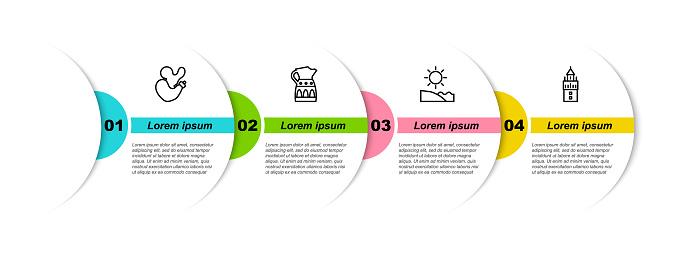 Set line Spanish wineskin, Sangria pitcher, Beach and Giralda. Business infographic template. Vector