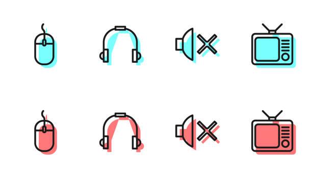 Set line Speaker mute, Computer mouse, Headphones and Retro tv icon. Vector Set line Speaker mute, Computer mouse, Headphones and Retro tv icon. Vector. switchboard operator vintage stock illustrations