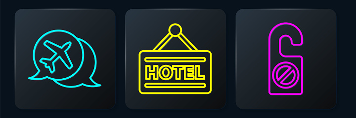 Set line Speech bubble with airplane, Please do not disturb and Signboard with text Hotel. Black square button. Vector