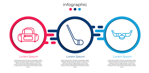 Set line Sport bag, Ice hockey stick and Ice hockey sticks and puck. Business infographic template. Vector