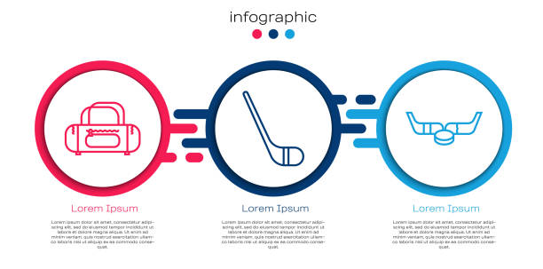 Set line Sport bag, Ice hockey stick and Ice hockey sticks and puck. Business infographic template. Vector Set line Sport bag, Ice hockey stick and Ice hockey sticks and puck. Business infographic template. Vector business clipart stock illustrations