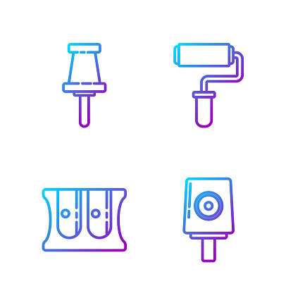 Set line Spray can nozzle cap, Pencil sharpener, Push pin and Paint roller brush. Gradient color icons. Vector
