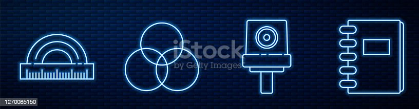 istock Set line Spray can nozzle cap, Protractor, RGB and CMYK color mixing, Spiral notebook and Tube with paint palette. Glowing neon icon on brick wall. Vector 1270085150