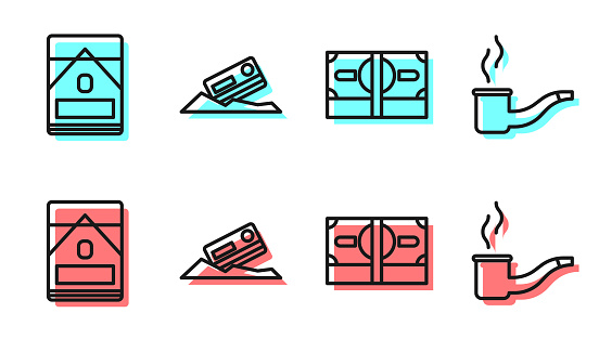 Set line Stacks paper money cash, Cigarettes pack box, Cocaine and credit card and Smoking pipe icon. Vector