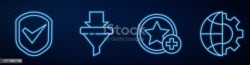 istock Set line Star, Shield with check mark, Sales funnel with arrows and Globe of the Earth and gear. Glowing neon icon on brick wall. Vector 1271582793