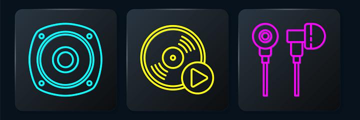 Set line Stereo speaker, Air headphones and Vinyl disk. Black square button. Vector