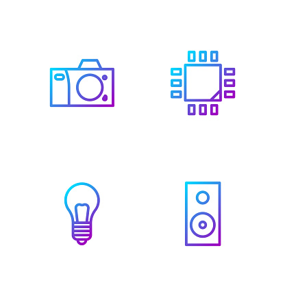 Set line Stereo speaker, Light bulb with concept of idea, Photo camera and Processor microcircuits CPU. Gradient color icons. Vector