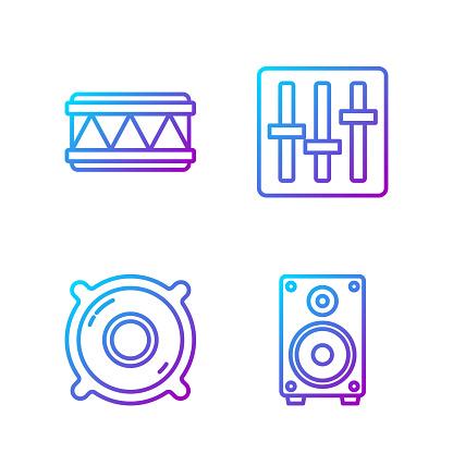 Set line Stereo speaker, Stereo speaker, Drum and Sound mixer co