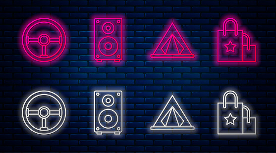 Set line Stereo speaker, Tourist tent, Steering wheel and Paper shopping bag. Glowing neon icon on brick wall. Vector