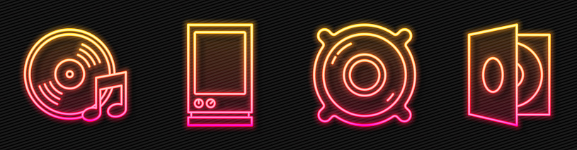 Set line Stereo speaker, Vinyl disk, Voice assistant and Vinyl player with a vinyl disk. Glowing neon icon. Vector