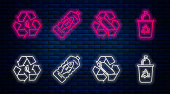 Set line Stop ocean plastic pollution, Recycling plastic bottle, Recycle symbol and leaf and Recycle bin with recycle symbol. Glowing neon icon on brick wall. Vector