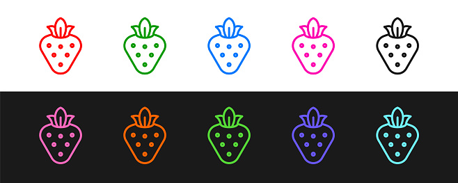 Set line Strawberry icon isolated on black and white background. Vector