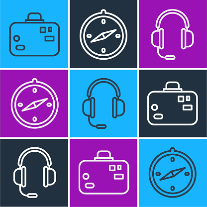 Set line Suitcase, Headphones with microphone and Compass icon. Vector