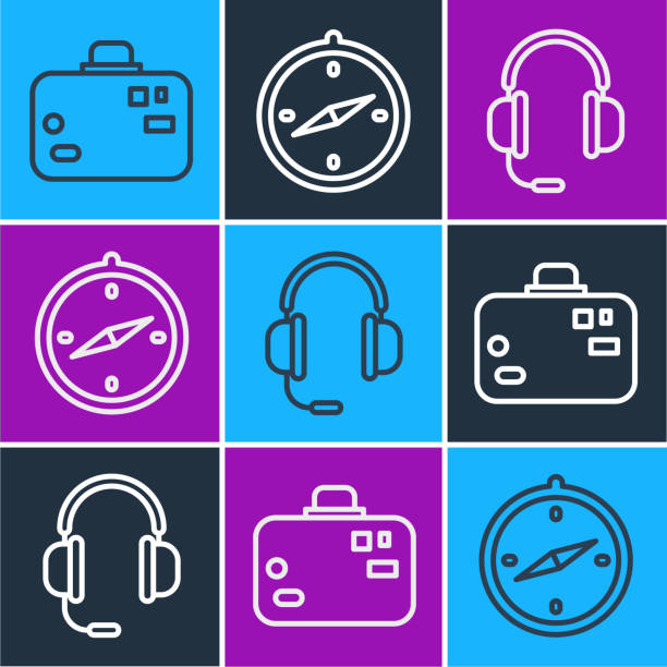 Set line Suitcase, Headphones with microphone and Compass icon. Vector Set line Suitcase, Headphones with microphone and Compass icon. Vector switchboard operator vintage stock illustrations