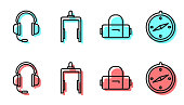 Set line Suitcase, Headphones with microphone, Metal detector in airport and Compass icon. Vector