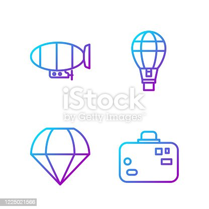 Set line Suitcase, Parachute, Airship and Hot air balloon. Gradient color icons. Vector