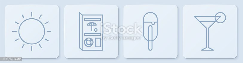 istock Set line Sun, Ice cream, Travel brochure and Martini glass. White square button. Vector 1227416052