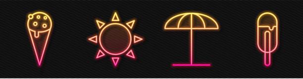 Set line Sun protective umbrella for beach, Ice cream in waffle cone, Sun and Ice cream. Glowing neon icon. Vector Set line Sun protective umbrella for beach, Ice cream in waffle cone, Sun and Ice cream. Glowing neon icon. Vector beach clipart stock illustrations