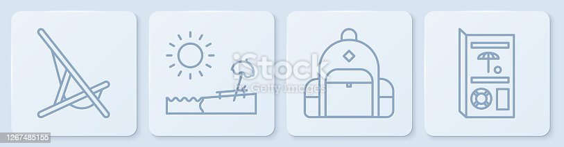 Set line Sunbed, Hiking backpack, Beach with umbrella and chair and Travel brochure. White square button. Vector