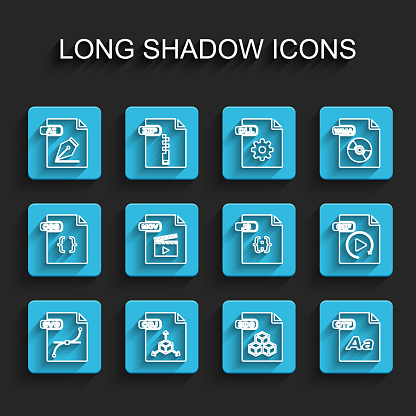 Set line SVG file document, OBJ, AI, 3DS, OTF, MOV, GIF and JS icon. Vector