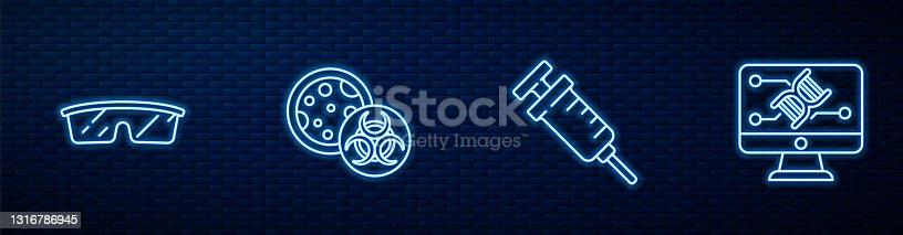 istock Set line Syringe, Laboratory glasses, GMO and Genetic engineering modification. Glowing neon icon on brick wall. Vector 1316786945