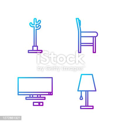 istock Set line Table lamp, Smart Tv, Coat stand and Chair. Gradient color icons. Vector 1272851321