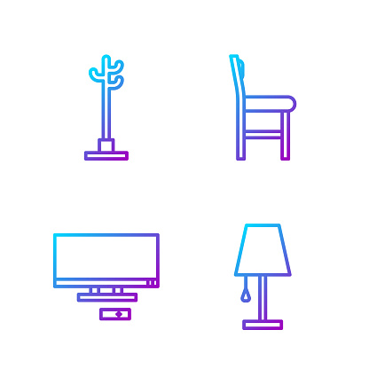 Set line Table lamp, Smart Tv, Coat stand and Chair. Gradient color icons. Vector