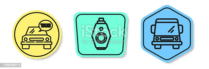 Set line Taxi car, Car key with remote and Car. Colored shapes. Vector