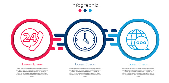 Set line Telephone 24 hours support, Clock and World map made from speech bubble. Business infographic template. Vector