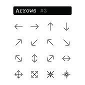 Set line thin icons. Vector. Arrow
