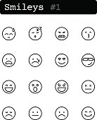 Set line thin icons. Vector. Smileys