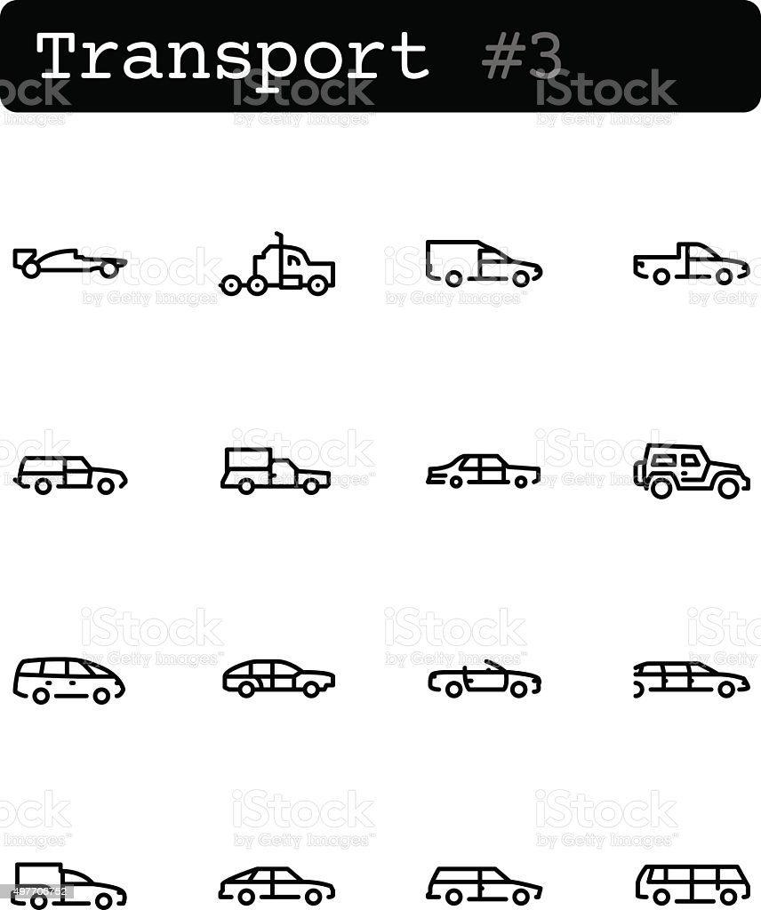 Set line thin icons. Vector. Transport, cars vector art illustration