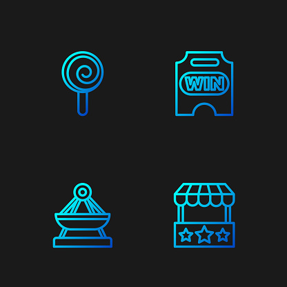 Set line Ticket box office, Boat swing, Lollipop and Circus ticket. Gradient color icons. Vector