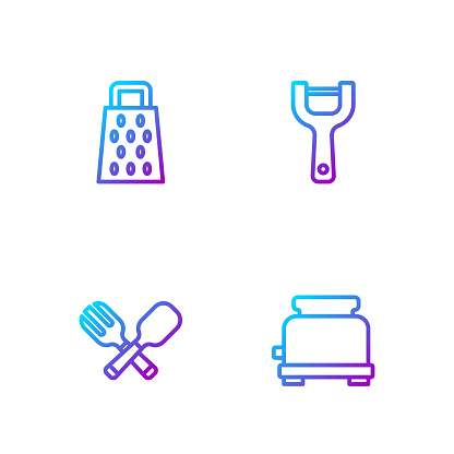 Set line Toaster, Crossed fork and spoon, Grater and Vegetable peeler. Gradient color icons. Vector