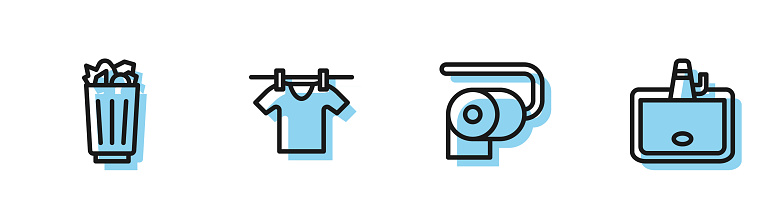 Set line Toilet paper roll, Full trash can, Drying clothes and Washbasin icon. Vector