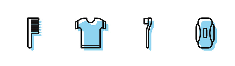 Set line Toothbrush, Hairbrush, T-shirt and Sanitary napkin icon. Vector