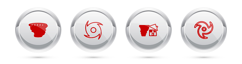 Set line Tornado, , swirl and . Silver circle button. Vector